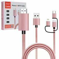 Rose Triple USB Option vers HDMI Câble pour Wiko Cerf-Volant 4G