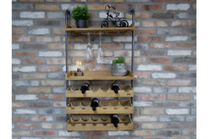 Industrial Wall Wine Unit Bottle and Glass Storage / Shelving - Metal & Wood