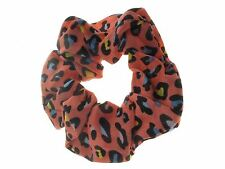 Salmon Pink Animal Print Fabric Scrunchie Hair Bobble Hair Elastic Band
