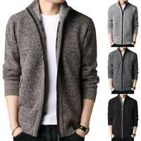 Mens Knitted Zip Up Cardigan Jacket Coat Winter Warm Casual Jumper Sweater Tops
