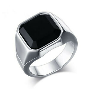 Men's Stainless Steel Plated Signet Ring with a Black Stone Onyx Rings Square