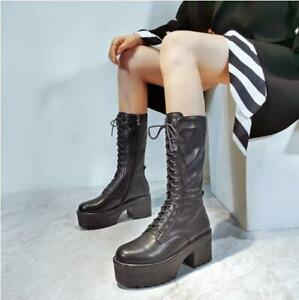 Womens Chic Leather Lace Up Platform Block Heel Mid Calf Combat Boots Shoes EOEQ