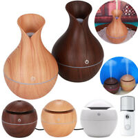 LED USB Wood Grain Ultrasonic Air Humidifier Aroma Essential Oil Diffuser Room