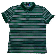J. LINDEBERG Men's Short Sleeve Shirt Green Striped Extra Small Fit XS
