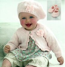 BABY CARDIGAN BERET & SHOES KNITTING PATTERN 0 TO 7 YEARS 16/26 INCH (1369)