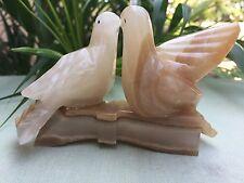 Onyx Dove Cream Brown Dove Gemstone Birds On Branch Animal Figure Collectable.