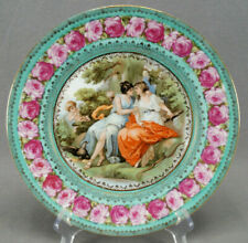 ES Prussia Royal Vienna Style Classical Scene Pink Roses Green & Gold Plate