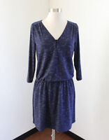 NWT Banana Republic Heather Navy Blue 3/4 Sleeve Casual Dress Size M V-Neck