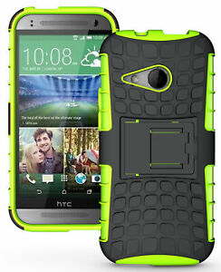 NEON LIME GREEN GRENADE TPU SKIN HARD CASE COVER STAND FOR HTC ONE REMIX MINI-2