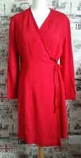 MONDI Gala Dress Wrap Red Long Sleeve Occasions Dress Cocktail size 42 EU 14 UK