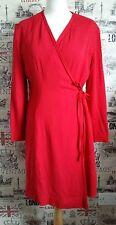 MONDI Gala Dress Wrap Red Long Sleeve Occasions Dress Cocktail size 42 EU 14 UK