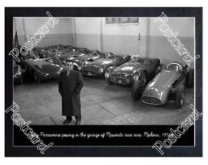 Historic garage of Maserati race cars. Modena, 1950s Postcard