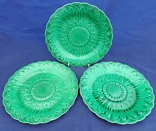 Set of Three Wedgwood Green Majolica Plates Sunflower Basket Weave Patt c 1870s