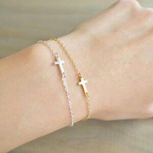 Kreuz Armkette Modern Armband Gold Silber Frauen Mädchen Geschenk