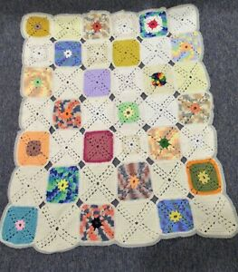 """Vintage hand crocheted afghan throw granny squares squares 40"""" x 50"""""""