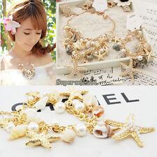 1Pcs Ocean Multi Starfish Sea Star Conch Shell Pearl Golden Chain Beach Bracelet