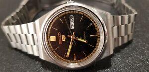 Vintage SEIKO 5 Auto 6309A Japan 35mm Black D/D 17J Men's S/S Watch Serviced VGC