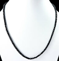 """AMAZING 100% NATURAL BLACK SPINEL 4MM ROUNDEL FACETED 18"""" BEADS CHOKER NECKLACE"""
