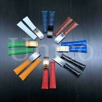20 MM Alligator Leather Strap Band Deployment Buckle Clasp Fits For Rolex 2019