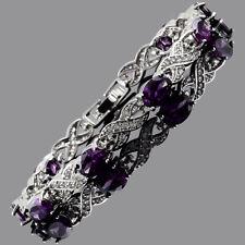"6mmx8mm Oval Purple Amethyst Cubic Zirconia CZ Tennis Bracelet Xmas Gift 7.5""+1"""