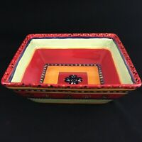 """Extra Large Square Serving Bowl 11 1/2"""" by Corsica Rumba Red Handpainted"""