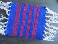 miniature dollhouse south west fringed blanket area rug  1:12 red/blue