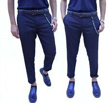 Pantaloni Uomo Slim fit Elegante Righe Cordino  estetico Casual Striped