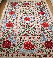 Suzani blue red bedspread,uzbek suzani wall hanging,embroidered suzani bedding