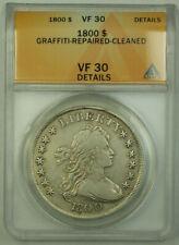 1800 Draped Bust Silver Dollar $1 Coin ANACS VF-30 Details RJS