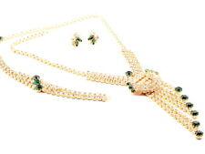 Vintage Czech green clear glass rhinestone necklace bracelet earring set