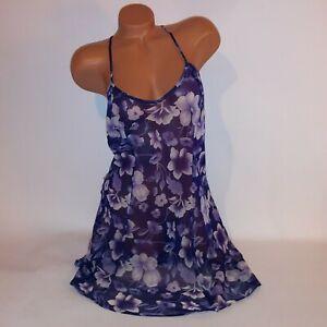 Vintage Fredericks of Hollywood Lingerie Chemise Slip Gown Large Purple Floral
