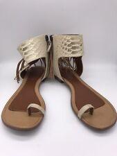 9 West Boutique 9 Gladiator Sandals Fringe Animal Print 7M Boho Casual Style