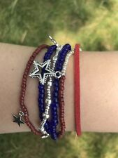 multi strand leather bracelet, Red, white and blue, stars, American themed