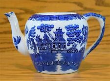 Allertons Blue Willow Teapot Antique (SMOOTH), England No Lid holds 6 cups Rare
