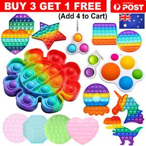 Pop Its Push it Bubble Fidget Rainbow Sensory Simple Dimple Toy Stress Relief