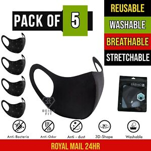 5 X Breathable Reusable Washable Lightweight Black Face Mask Mouth Protection UK