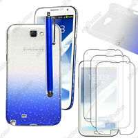 Housse Etui Coque Gouttelettes Bleu Samsung Galaxy Note 2 + Stylet + 3 Films