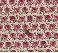 Shabby Cottage Rose Floral Pink Mauve Yellow Gold Quilt Stripe Border Fabric