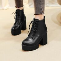 Womens Casual Lace Up Zip Block High Heels Ankle Boots High Top Riding Booties