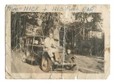 Vintage Photo Young Man Sitting On His First Car DST35