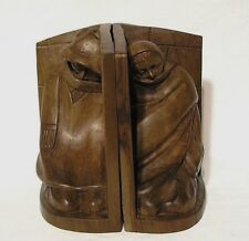 """Beautifully Done One Piece Hand Carved Wooden Bookends """"Homeless Alseep"""" 7 3/4"""""""