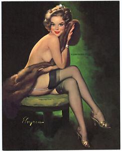 1969 Gil Elvgren Brown & Bigelow Stockings Clad Risque Pin Up Print Purrrr-Fect!