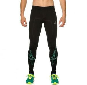 Asics Men's Running Tights Striped Compression Tights - Black/Blue - New