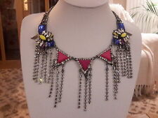Brand new chunky antique silver look necklace with multi coloured crystals