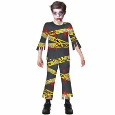 Child Caution Zombie Costume Boys Halloween Biohazard Toxic Fancy Dress Outfit