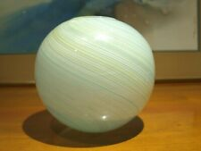 Murano Salviati Toso Glass Globe Ball VASE Filigrana White Green Blue Swirl Orb