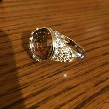 Citrine Sterling Silver Ring CZ Size 9 NEW