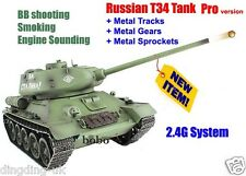 radio remote control Heng Long rc tank 1/16  Russian T34 Battle 2.4G Tank UK