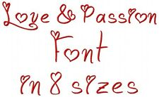 "Love & Passions Font Machine Embroidery 656 Designs on CD 8 sizes .25"" to 3"""