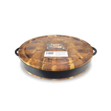 Large Round Chopping Board 40cm Cut Cutting Acacia Wood Serving  Steel Handles